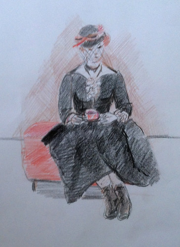 At the Museum (Sketch in Colored Pencil) by randubnick