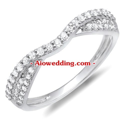 0.36 Carat (ctw) 14k White Gold Round Diamond Ladies Bridal Anniversary Wedding Stackable Band 1/3 CT
