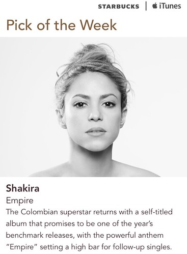 Starbucks iTunes Pick of the Week - Shakira - Empire
