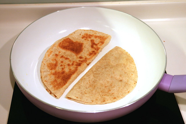 Toast the wraps in a non-stick pan