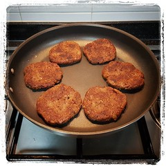 Cooking and freezing the rest of the BBQ Black Bean Burgers from Sunday...