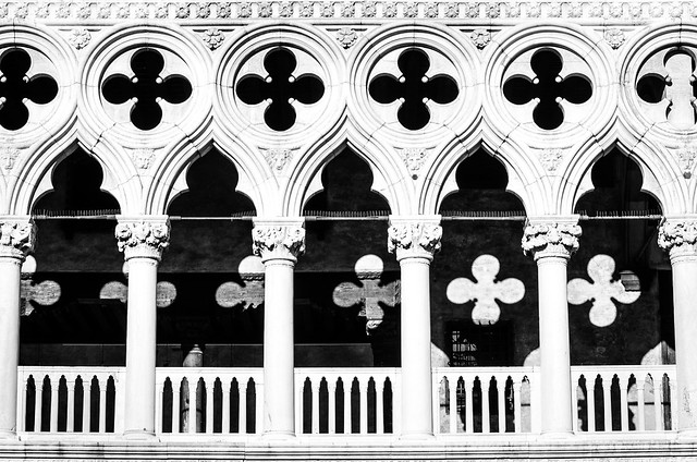 The shapes and shadows of the Doge's Palace in Venice.