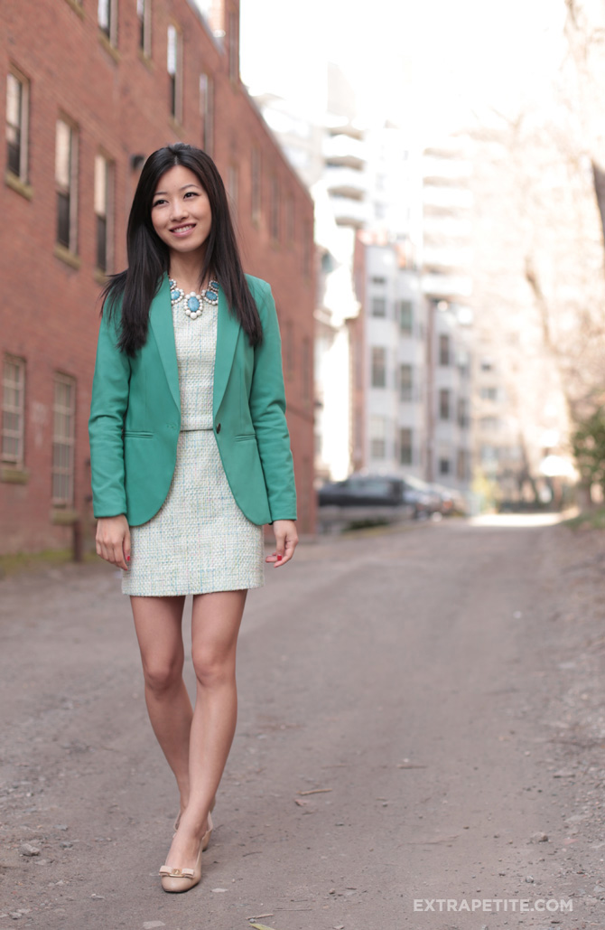 green blazer pastel tweed