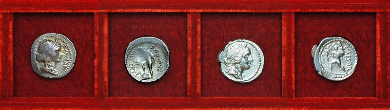 RRC 457 A.ALLIENVS C.CAESAR Julius Caesar, RRC 458 CAESAR, Ahala collection, coins of the Roman Republic