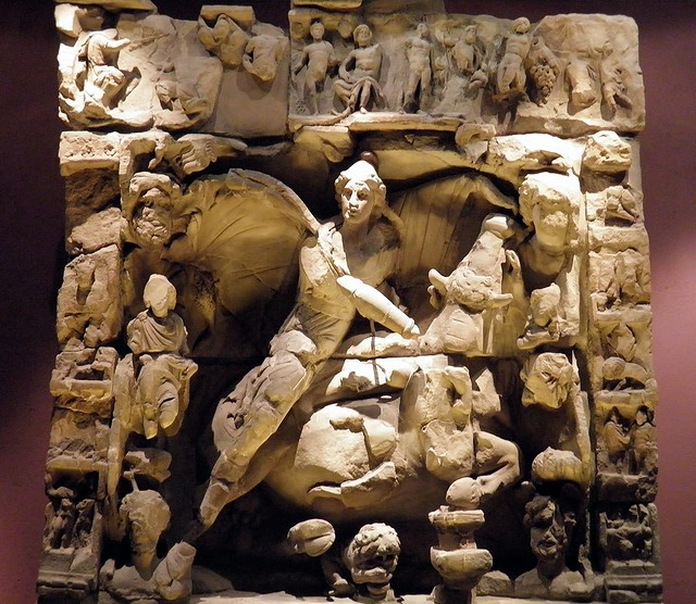 Bas-relief of the tauroctony found at the Sarrebourg (Pons Saravi) mithraeum in 1895,  Musée de la Cour d'Or, Metz (France)
