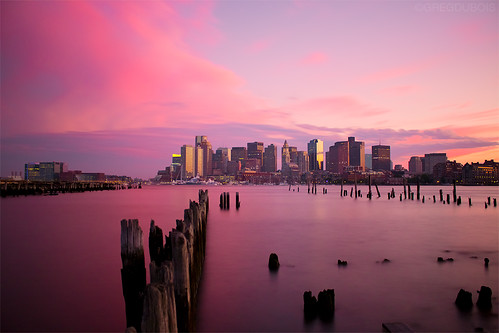 Boston Skyline Pink Sunset from Carlton Wharf East Boston, ND Long Exposure by Greg DuBois Photography
