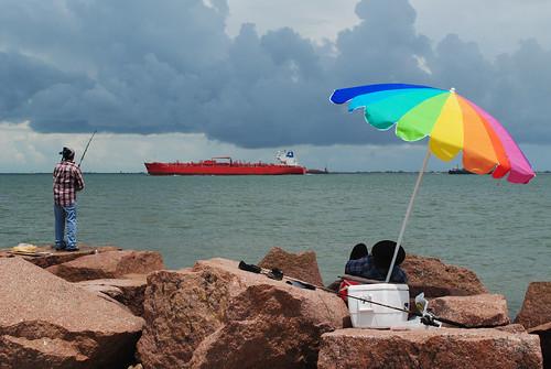 shipping ship umbrella fishing galveston island county texas gulfofmexico gulf united states north america