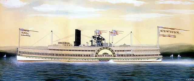 New Yok -Hudson River Steamboat - 1887