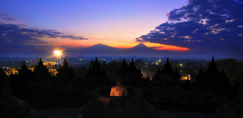 before sunrise at Borobudur Temple