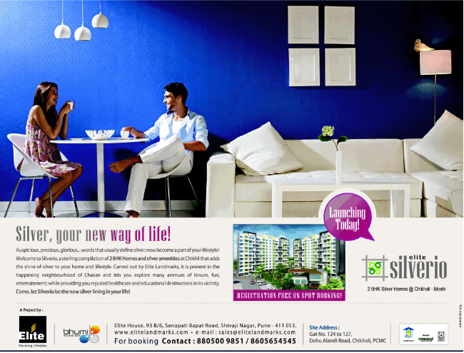 Launched! Elite Silverio, 2 BHK Flats on Dehu Alandi Road, Chikhali PCMC Launch Ad (7-9-2013)