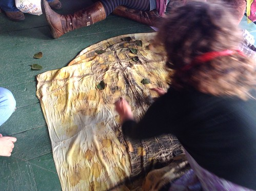 Removing Leaves from Eco Dyed Cloth