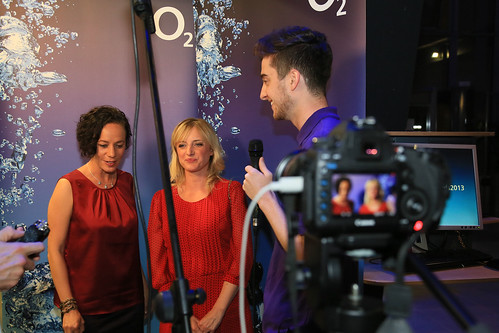 Emmerdale actresses Alicya Eyo and Nicola Wheeler being interviewed by Journalism student Charles Clark at the O2 Media Awards. Photo copyright of Thomas Gadd.