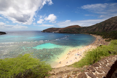 ocean usa mountains beach water coral clouds canon landscape hawaii oahu turquoise hills clear explore hanaumabay reef hawai t3i 600d explored gsamie guillaumesamie