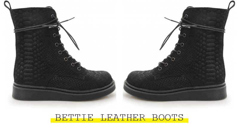bettie leather boots bianco