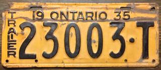 ONTARIO 1935 TRAILER PLATE