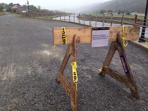 """C&O Canal shutdown """"barricade"""""""