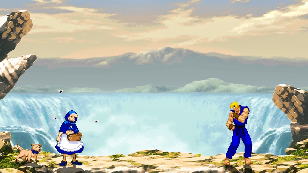 StreetFighterAlpha Waterfall HD + Updated Stage - Ace