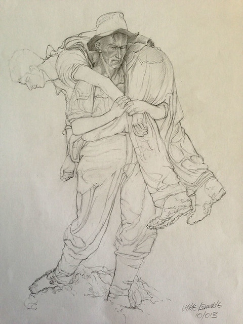 A statue drawing by Mike Lamble