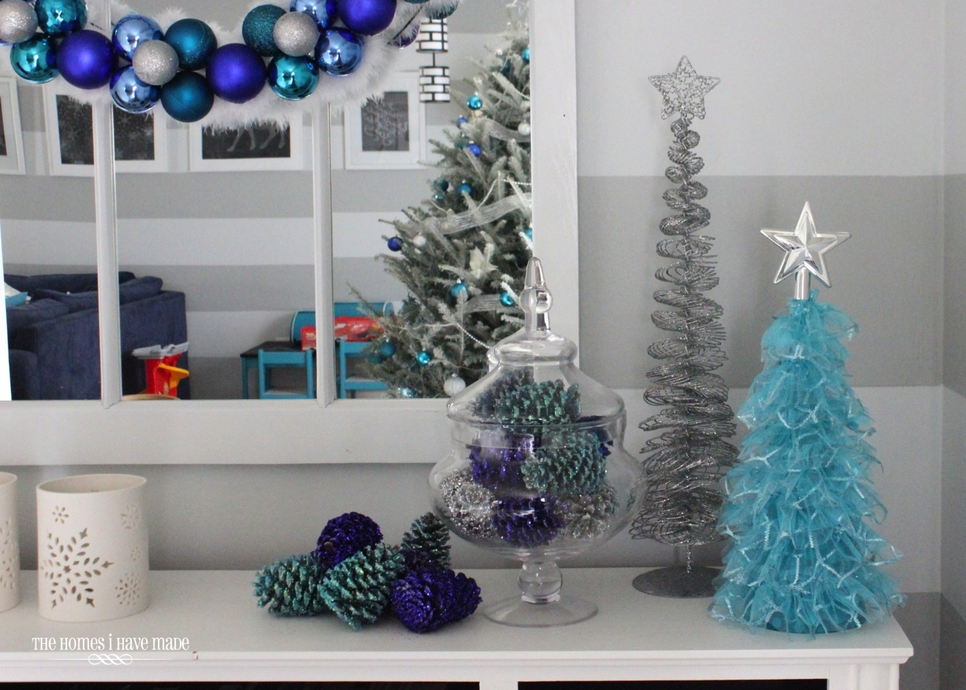 holiday living room 2013 009 - Blue And Silver Christmas Decorating Ideas