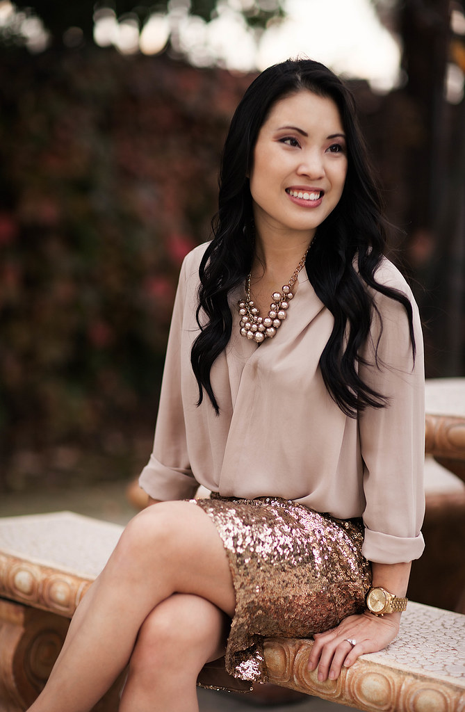 cute & little blog | sequin skirt outfit | neutrals
