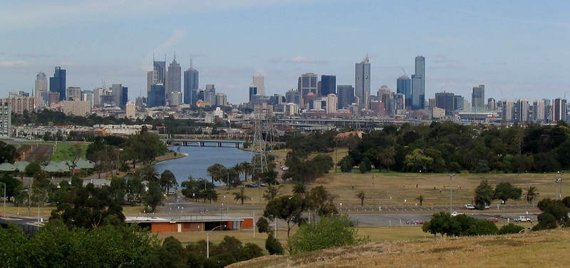 City skyline from Footscray Park (January 2004)