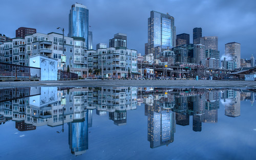 seattle sunset reflection clouds buildings evening pier downtown day cityscape cloudy dusk wideangle pacificnorthwest bluehour washingtonstate hdr microfourthirds olympusmzuikoed12mmf20 olympusomdem5 johnwestrock