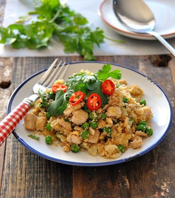 "Roast Chicken, Peas & Coriander Fried Cauliflower ""Rice"" 