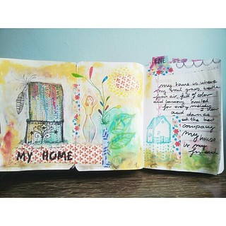 First artwork. About my home for The documented life Project .  Wow! Hello! Finished the first prompt about my home. I'm working on catching up on the week pages.   Primera propuesta para este Art Journal. Mi casa. :-)   #thedocumentedlifeproject #artjour