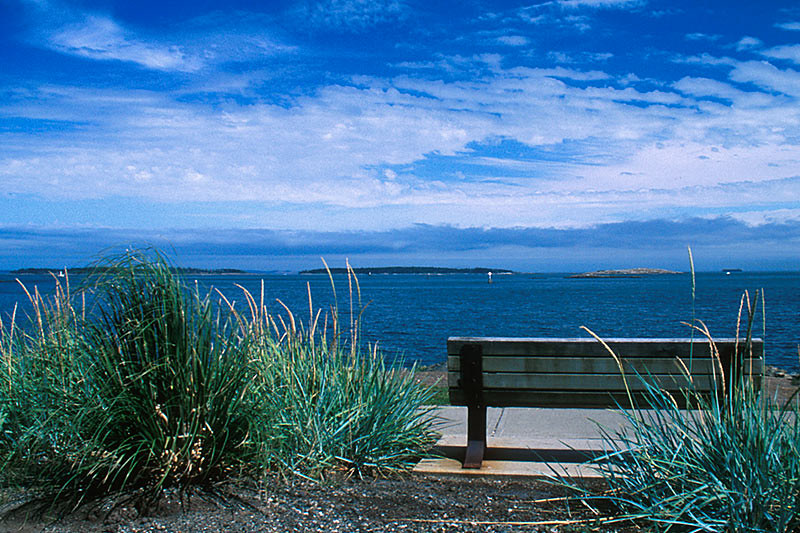 View from Oak Bay of Discovery Island Marine Park, Haro Strait, Victoria, Vancouver Island, British Columbia, Canada