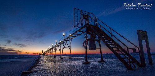 blue winter sunset lighthouse cold ice beach lights evening pier dusk michigan february grandhaven 2014 westmichigan kevinpovenz