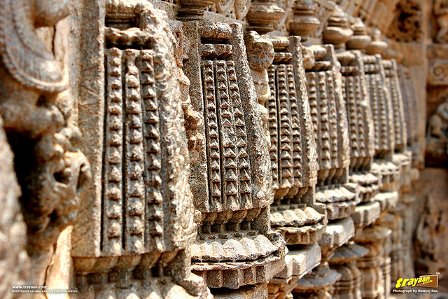 Ornate sculptures on outer walls of Keshava Temple, Somanathapura, Mysore district, Karnataka, India