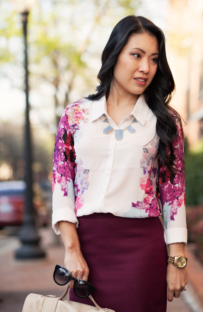cute & little blog | petite fashion | rosy pink floral shirt, burgundy pencil skirt, blue suede pumps outfit