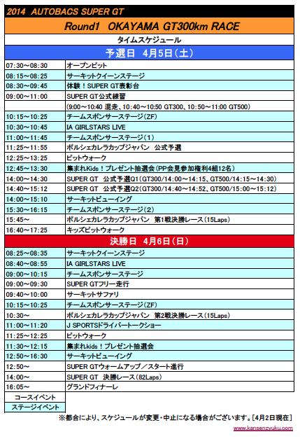 2014SGT第1戦岡山タイムスケジュール