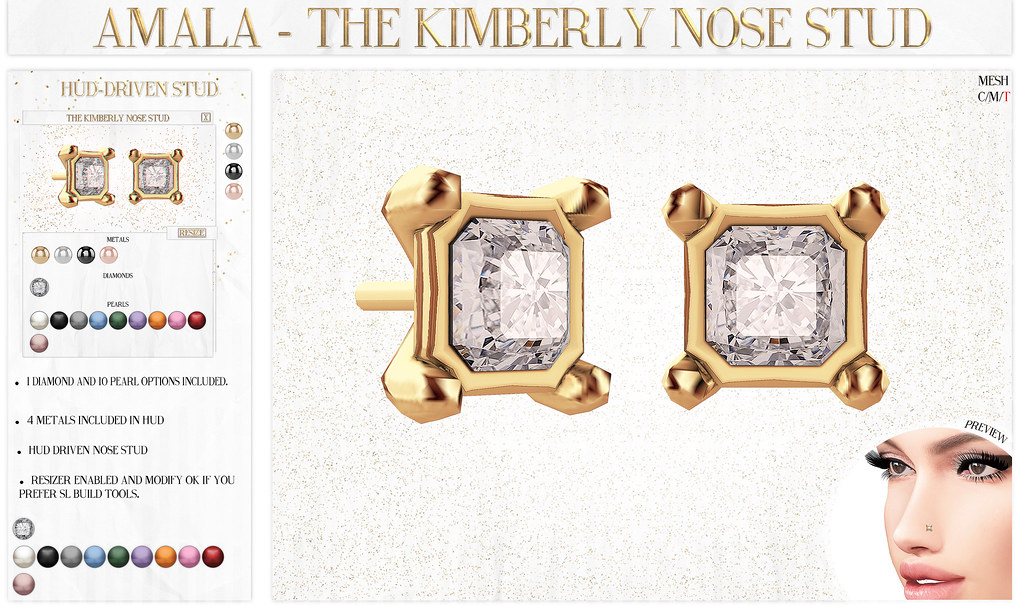Amala - The Kimberly Nose Stud for N21 - SecondLifeHub.com