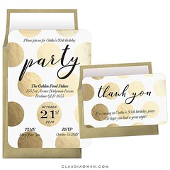Golden polka dot party invitation perfect for birthday parties and fun events #partytime #stationerydesigner #invitation