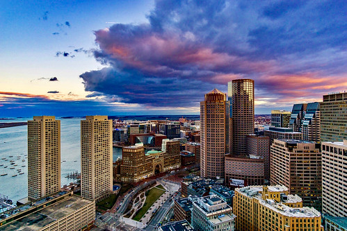 raw rokinon rokinon12mm sonyalpha sonya6000 wideangle sunset boston massachusetts newengland customhousetower downtown bostonharbor clouds sunsetclouds skyscrapers rosekennedygreenway view sky