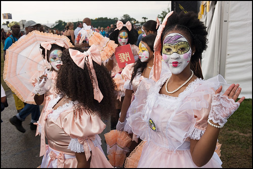 New Orleans Baby Doll Ladies at Jazz Fest day 3 on April 30, 2017. Photo by Ryan Hodgson-Rigsbee www.rhrphoto.com