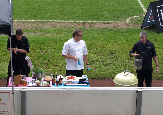 Chef Nigel Haworth at the Fantastic Food Show - the BBQ demo on the pitch