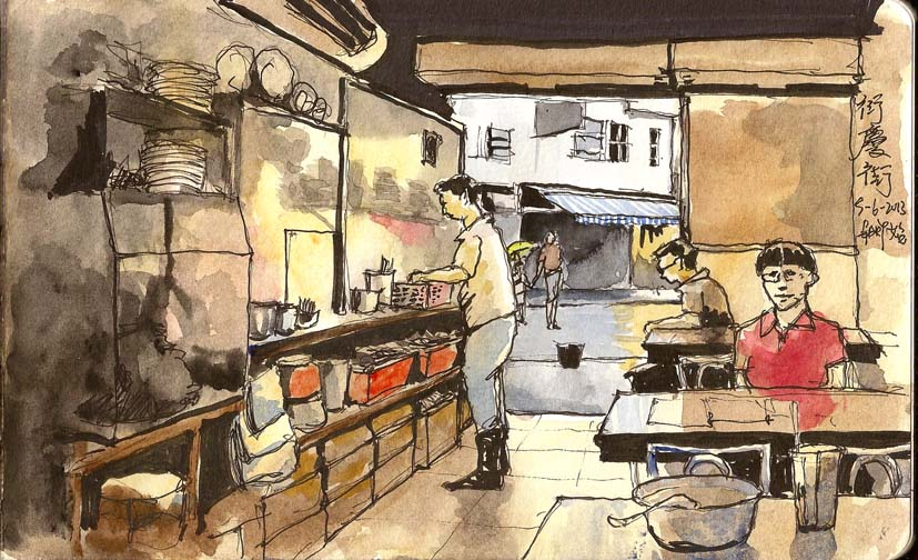Sketching at a Noodles Shop