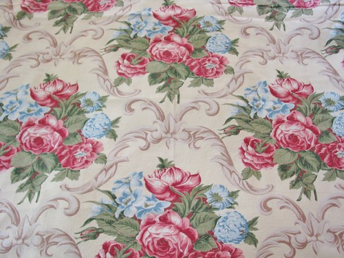 Vintage 40's Rose Bouquet Fabric