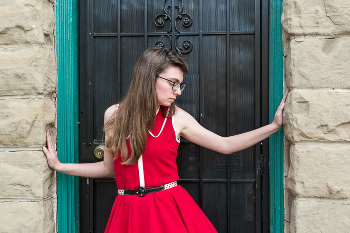 Red Dress, polka dot belt, nautical, petticoat, Victory Roll, Vintage Hair, Never Fully Dressed (Without a Style)