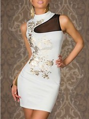 White Flower Printed High Collar Clubwear