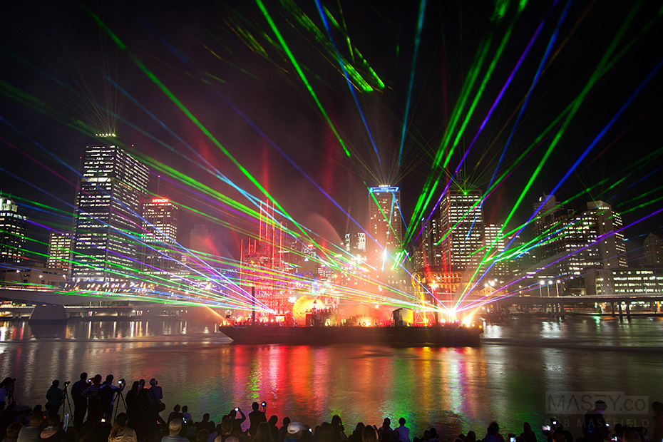 Brisbane Festival's 'City of Light' show illuminates the Brisbane River.