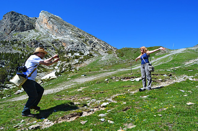 Bob and Karen show how it's done, Ulldeter, Pyrenees, Spain