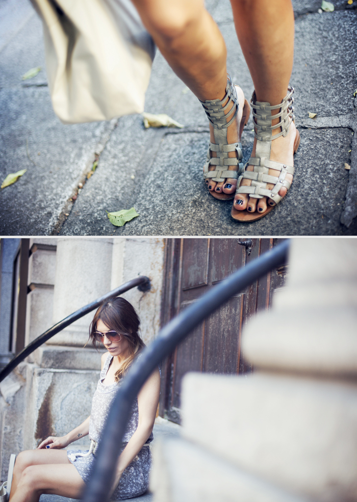street style silver gladiators barbara crespo outfit
