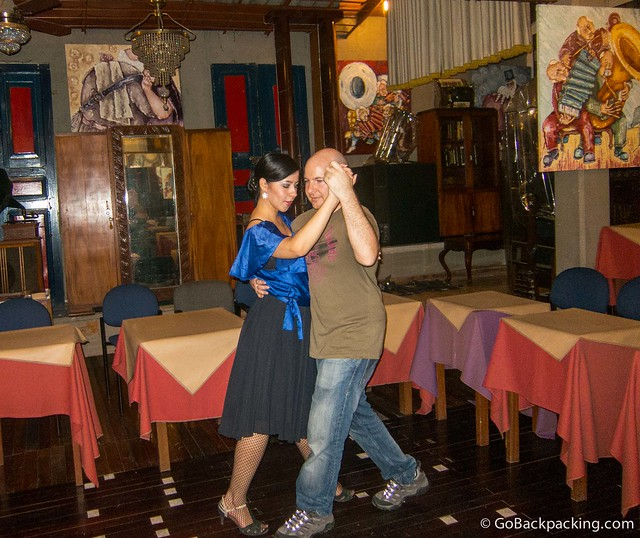 Enjoying my private tango lesson, the first since my time in Buenos Aires last year