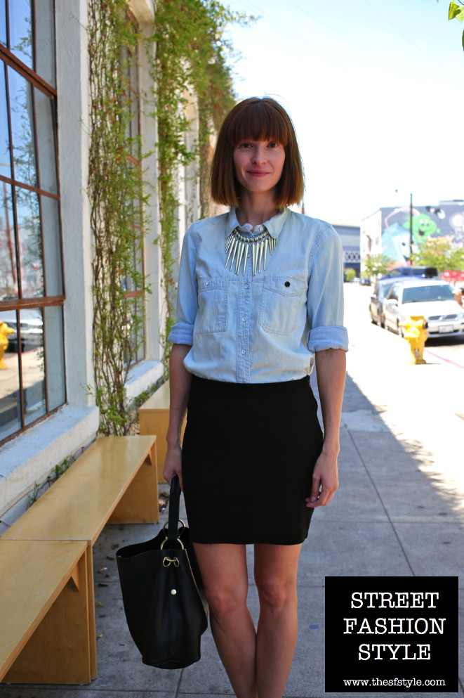 statement necklace, light denim shirt, patent oxfords, los angeles fashion blog, street fashion style, streetstyle,