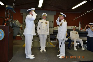 "Cmdr. Geoffrey S. Deas assumed command of Coast Guard Port Security Unit 309 from Cmdr. Gerald A. ""Jerry"" Nauert during a change-of-command ceremony at the PSU 309 Facility, Lake Erie Business Park in Port Clinton, Saturday September 21, 2013"