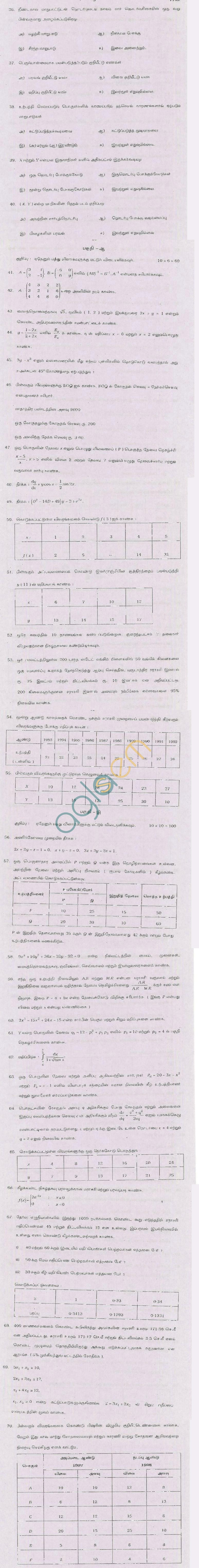 TN Board Higher Secondary (Plus 2)Business MathsQuestion PapersJune 2011