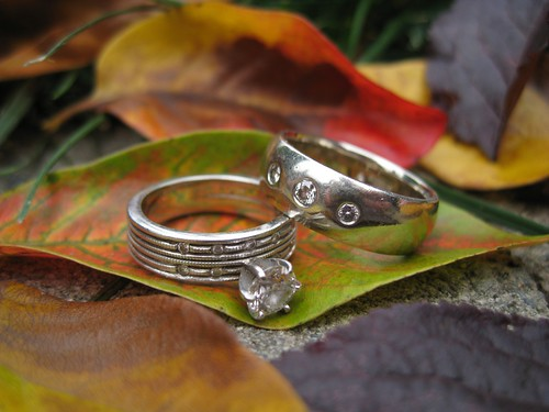Wedding Rings & Fall Leaves